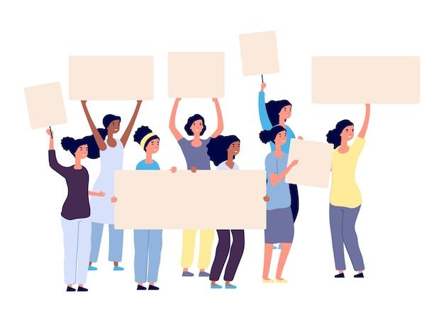 Protestujące kobiety. międzynarodowe postacie kobiece z tabliczkami. na białym tle moc dziewcząt aktywnych, ilustracji wektorowych feminizm. protest i demonstracja kobiet, aktywizm młodych sił