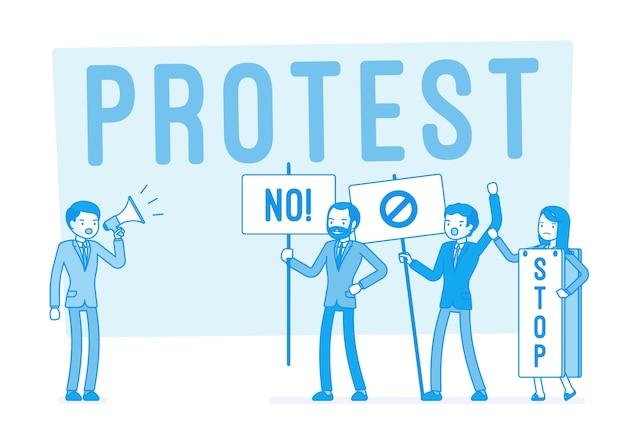 Protestujący ludzie podczas strajku