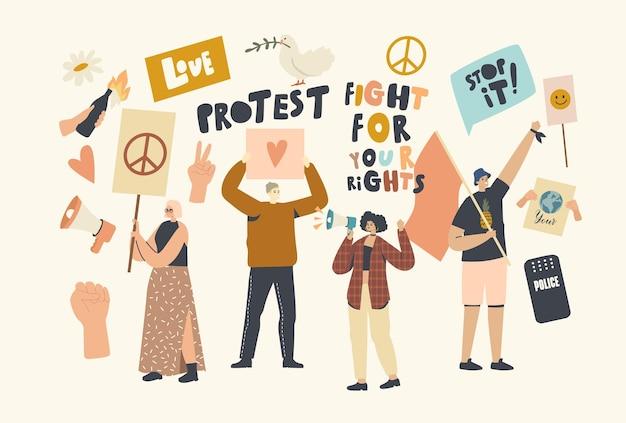 Protestujący ludzie z afiszami i szyldami podczas strajku lub demonstracji, męskie, żeńskie postacie aktywistów z banerami protestują o miłość i pokój podczas zamieszek, pikieta. ilustracja wektorowa ludzi liniowych