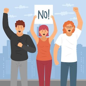 Protestujący ludzie ze znakiem