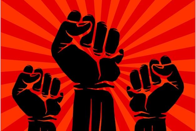 Protestujący rebeliancki wektor rewolucjonisty sztuki plakat