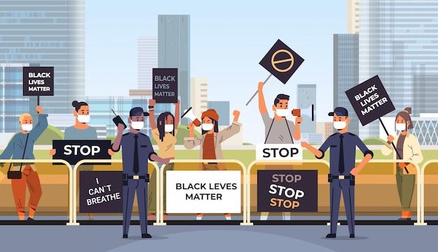 Protestujący tłum z banerami na temat czarnych spraw życiowych kampania przeciwko dyskryminacji rasowej w poparciu policji dla równych praw czarnych ludzi poziome ilustracji wektorowych w pejzażu miejskim