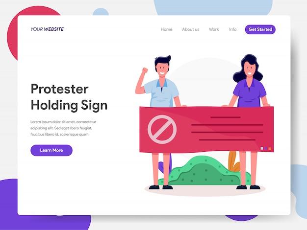 Protestujący trzymający znak