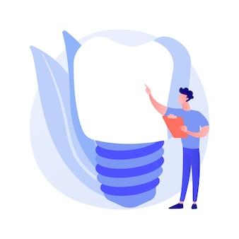 Protezy zębowe implanty abstrakcyjna koncepcja ilustracji wektorowych. implanty protezy, wybielanie zębów, stała wymiana zębów, stomatologia estetyczna, leczenie ortodontyczne.