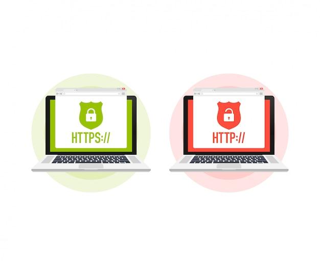 Protokoły http i https na tarczy na laptopie, na białym tle