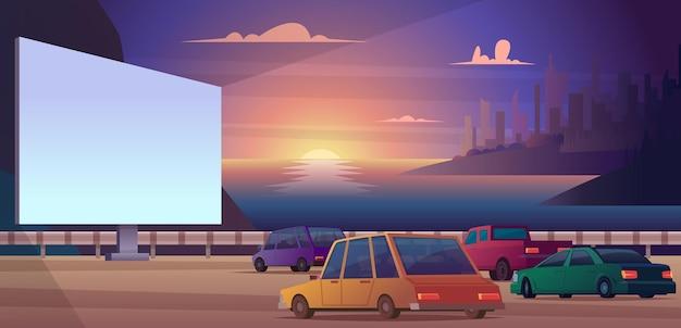 Prowadź kino. odkryty park otwarta przestrzeń dla samochodów ludzie oglądający film szczęśliwe pary ilustracja wektorowa kino nocne. rozrywka w kinie na ekranie, nocny pokaz wydajności