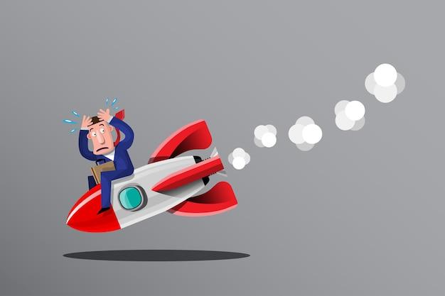 Prowadzenie biznesu, czasami nieudane plany biznesowe są jak rakieta, która szybko uderza w ziemię. ilustracja w stylu 3d