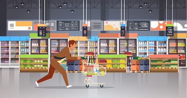 Prowadzenie klienta działalności człowieka z wózka na zakupy