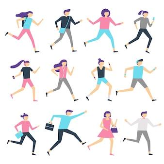 Prowadzenie ludzi. mężczyzna i kobieta biegają, biegają po treningu i biegają sportowo. sporty ćwiczy odosobnioną płaską wektorową ilustrację