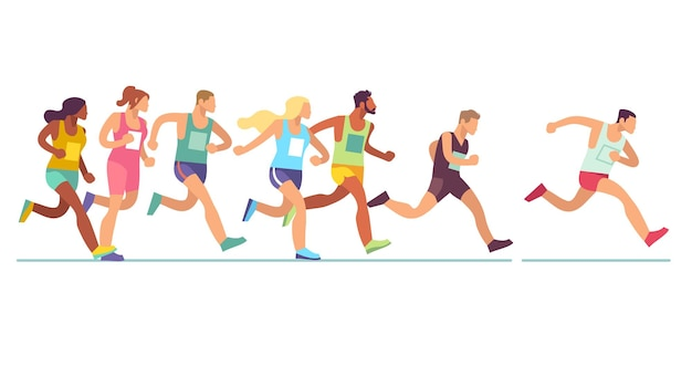 Prowadzenie ludzi. mężczyźni i kobiety w strojach sportowych na biegu maratońskim, imprezie lekkoatletycznej, grupie sportowej