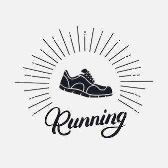 Prowadzenie odręczny napis z butów do biegania.