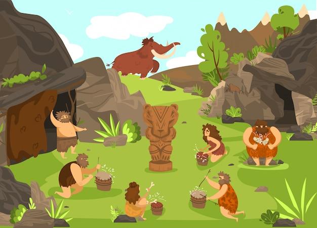 Prymitywni ludzie prehistoryczna ilustracja kreskówka przed jaskiniami i totemami zwierząt, starożytni jaskiniowcy w epoce kamienia łupanego.