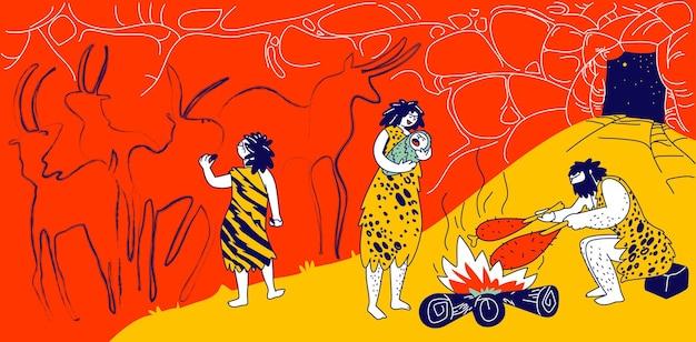 Prymitywni ludzie rodzina jaskiniowców mieszkających w jaskini z ogniskiem. ludzkie postacie członków plemienia. małe dziecko farba na ścianie, matka trzymająca dziecko, ojciec smażący mięso na ogniu. liniowa ilustracja wektorowa