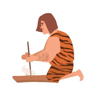 Prymitywny archaiczny człowiek lub jaskiniowiec ubrany w skórzane ubranie, rozpalający ogień przez tarcie przez szlifowanie kawałka drewna lub ręczne wiercenie. postać z kreskówki na białym tle. ilustracja wektorowa