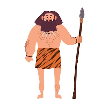 Prymitywny archaiczny mężczyzna noszący przepaskę biodrową ze skóry zwierzęcej i trzymający włócznię