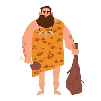 Prymitywny archaiczny mężczyzna ubrany w ubrania ze zwierzęcej skóry i trzymający pałkę. jaskiniowiec z epoki kamienia
