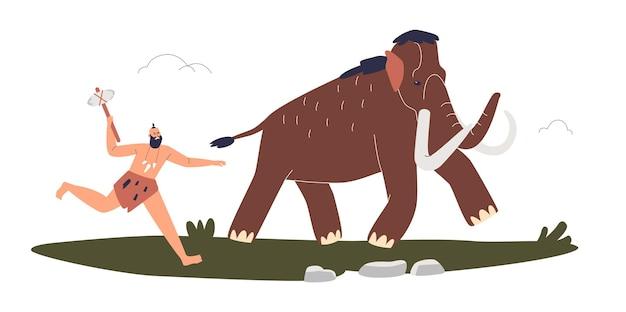 Prymitywny człowiek z epoki kamienia polujący na mamuta. łowca jaskiniowców goni ogromne zwierzę za jedzenie i kości w plemieniu. ilustracja kreskówka płaski wektor