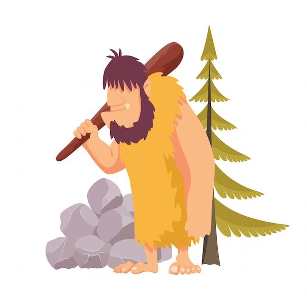 Prymitywny człowiek z epoki kamienia w kryjówce zwierzęcej obrzuca się dużym drewnianym pałką. ilustracja wektorowa płaski styl na białym tle