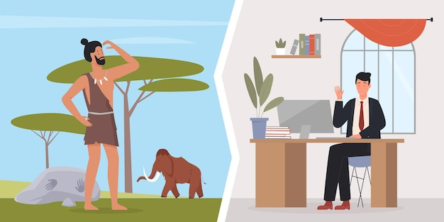 Prymitywny jaskiniowiec ewolucji człowieka i biznesmen, pracownik biurowy i prehistoryczny człowiek