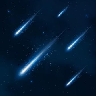 Prysznic komety na rozgwieżdżonym niebie. kometa w kosmosie, gwiaździsty prysznic kosmosu, nocne niebo komety, ilustracja komety. streszczenie tło wektor