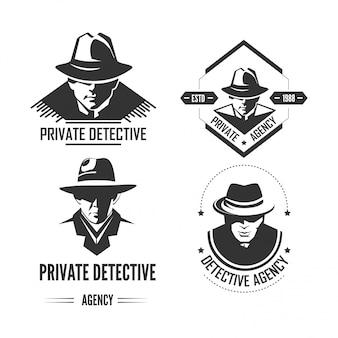 Prywatne detektywistyczne emblematy monochromatyczne z mężczyzną w kapeluszu i klasycznym płaszczu.