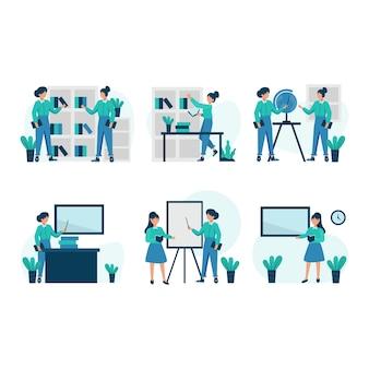 Prywatni korepetytorzy uczą przed uczniami wyjaśniającymi materiał i dyskutując ilustrację