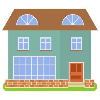 Prywatny dom z brązowym dachem i zielonymi ścianami na białym tle. ilustracja wektorowa.