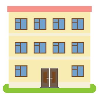 Prywatny dom z czerwonym dachem i żółtymi ścianami na białym tle. ilustracja wektorowa.