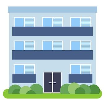 Prywatny dom z niebieskim dachem i niebieskimi ścianami na białym tle. ilustracja wektorowa.