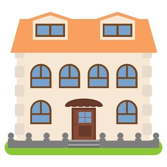 Prywatny dom z pomarańczowym dachem na białym tle. ilustracja wektorowa.