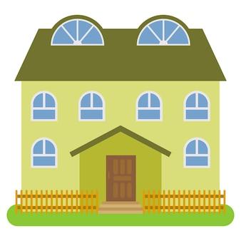 Prywatny dom z zielonym dachem i zielonymi ścianami na białym tle. ilustracja wektorowa.