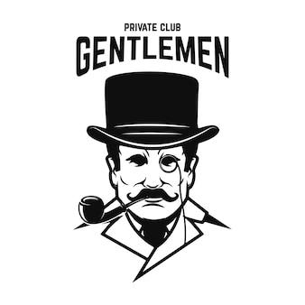 Prywatny klub dżentelmenów. pan w kapeluszu retro z fajką. ilustracja