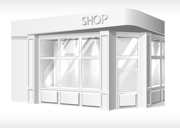 Przechowuj przednią zewnętrzną makietę. realistyczne stoisko, sklep, szablon butiku z przodu