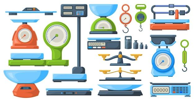 Przechowuj wagi elektroniczne i mechaniczne do pomiaru masy. rynek lub kuchnia pomiaru libra instrument wektor zestaw ilustracji. symbole wag ważących