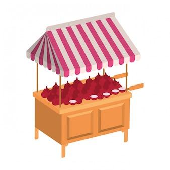 Przechowywać kiosk z warzywami na białym tle ikona