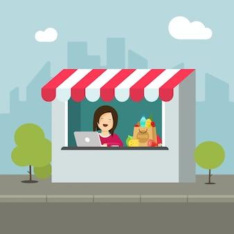 Przechowywać lub robić zakupy detaliczny budynek na miasto ulicy płaskiej kreskówce