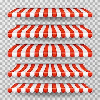Przechowywać markizę. paski dachowe rynku spożywczego. czerwono-biały sklepowy baldachim. namiot restauracyjny okno na białym tle zestaw