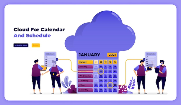 Przechowywanie i uzupełnianie harmonogramów w styczniowym kalendarzu roboczym.