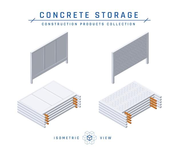 Przechowywanie ogrodzenia betonowego, ikony izometryczne.