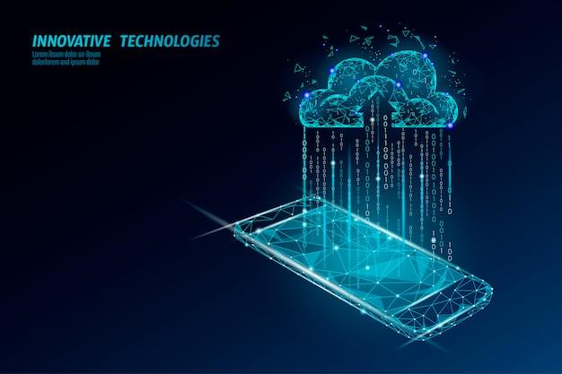 Przechowywanie online w chmurze. wielokątna przyszłość nowoczesnej technologii biznesowej w internecie. biała globalna wymiana informacji danych w tle ilustracji.
