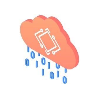 Przechowywanie w chmurze ikona chmury z zaszyfrowanymi danymi ilustracja wektorowa