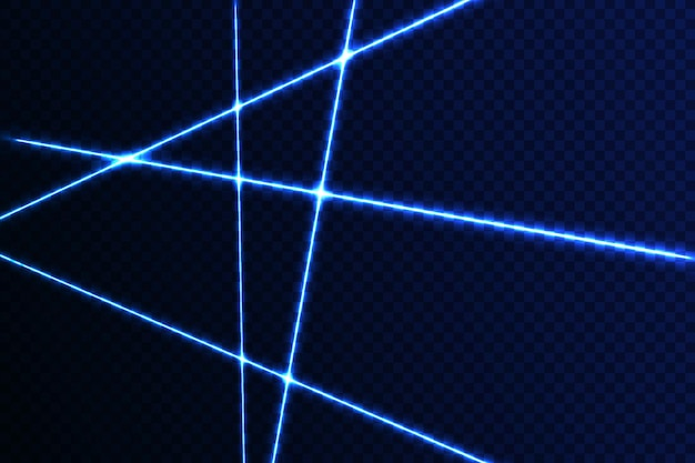 Przecinające się świecące laserowe wiązki bezpieczeństwa na ciemnym tleartystyczny projekt świecący promień światła