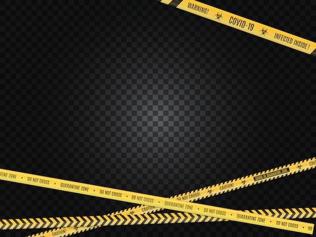 Przecinający się kolor żółty w czarnej taśmy ostrzegawczej szermierczej taśmie na białym tle. zagrożenie biologiczne.