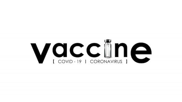 Przeciwciała przeciw koronawirusowi szczepionka medyczna przeciwko zakażeniu covid-19 z logo typografii szczepionki.