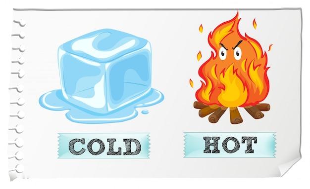 Przeciwne przymiotniki z zimną i gorącą