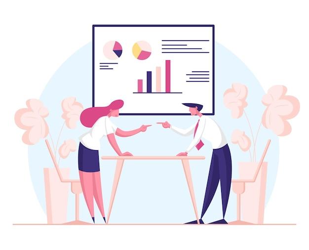 Przeciwnicy biznesmeni i kobiety kłócą się i gapią na siebie w biurze