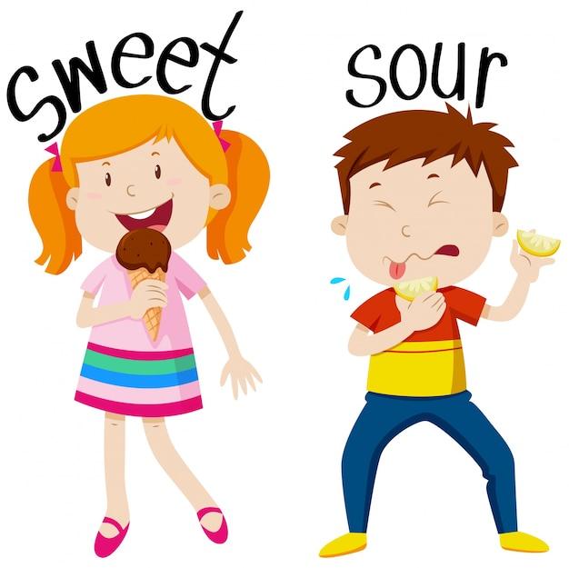 Przeciwnie przymiotniki z słodkim i kwaśnym