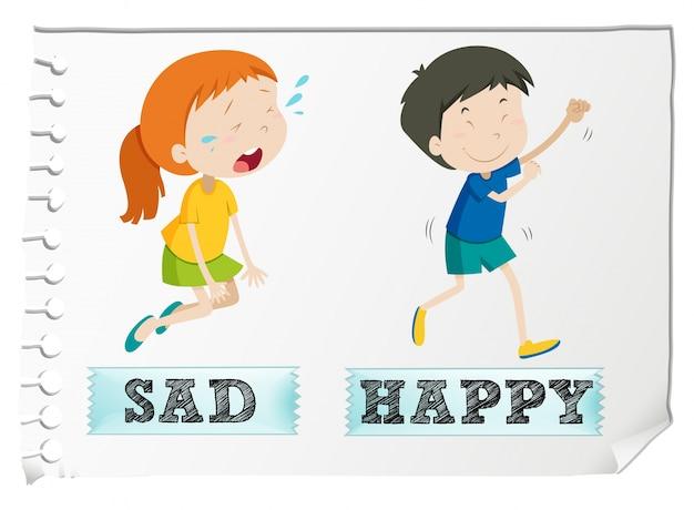 Przeciwnie przymiotniki ze smutnym i szczęśliwym