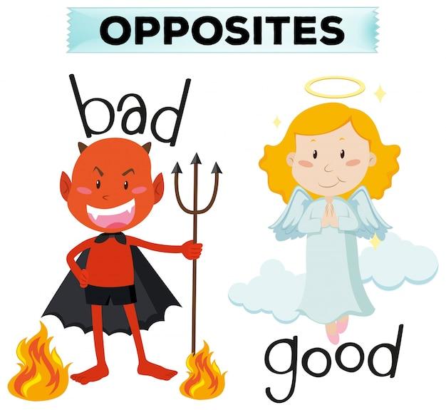 Przeciwnie słowami z złą i dobrą ilustracją