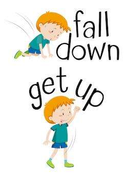 Przeciwstawne słowa, aby upaść i wstać